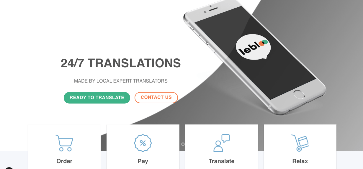 Lebloo Translation services website